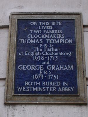 George Graham (clockmaker) - Plaque in Fleet Street, London, commemorating Thomas Tompion and George Graham