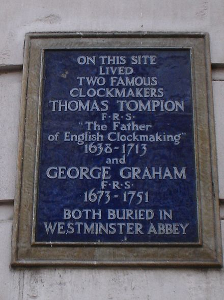 Plaque in Fleet Street, London, commemorating Thomas Tompion and George Graham T Tompion and G Graham.JPG