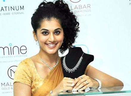 Taapsee at the launch of Malabar's New Jewellery Range, 2011 Taapsee-Pannu.jpg