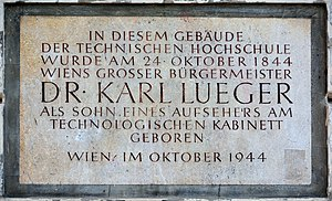 Karl Lueger - Plaque at Lueger's birthplace