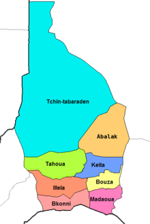 Tahoua Department location in the region
