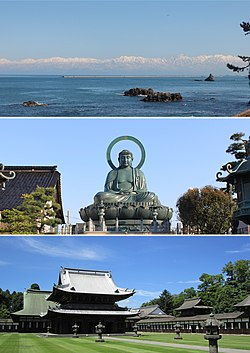 Clockwise from top, Sho River, Yakamochi Otomo's Stature in Takaoka Station, Takaoka Castle Site, Amahara Sea Coast, Takaoka Daibutsu, Otoko Rock in Takaoka Bay