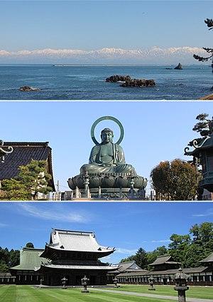 Takaoka, Toyama - Clockwise from top, Sho River, Yakamochi Otomo's Stature in Takaoka Station, Takaoka Castle Site, Amahara Sea Coast, Takaoka Daibutsu, Otoko Rock in Takaoka Bay
