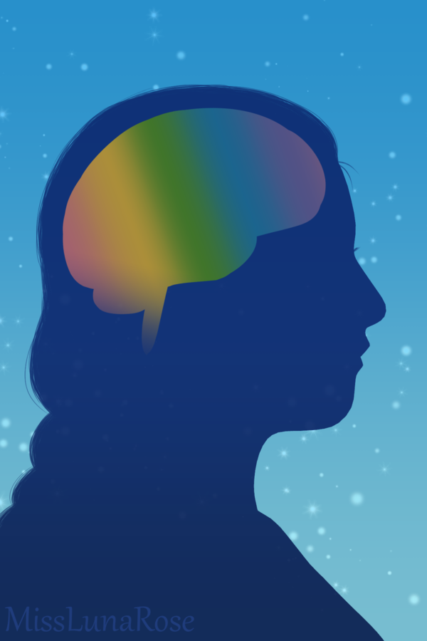 A silhouette drawing of a person with braided hair and a rainbow brain