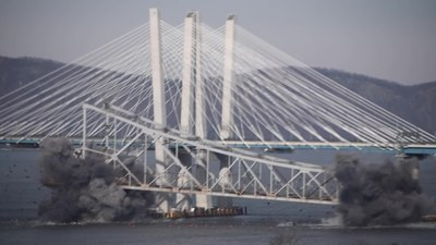 File:Tappan Zee Bridge explosive demolition 10x slow motion.webm