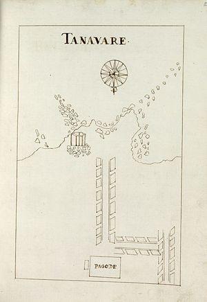 Tenavaram temple - Location of the main Tenavaram Kovil shrine at Thevan Thurai, Matura near the coast, before the complex's destruction. Portuguese drawing, published c. 1650