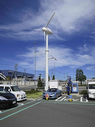 Charging station - Tesla Roadster being charged, Iwata city, Japan