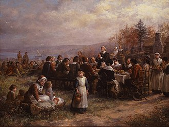 "Thanksgiving (United States) - ""Thanksgiving at Plymouth"", oil on canvas by Jennie Augusta Brownscombe, 1925, National Museum of Women in the Arts Pointedly, the anachronistic Plains Indians headdresses depicted in her 1914 painting, above,  were not repeated in this, her 1925 painting of that event."