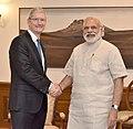 The Apple CEO, Mr. Tim Cook calls on the Prime Minister, Shri Narendra Modi, in New Delhi on May 21, 2016.jpg