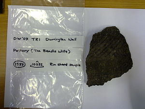 Grooved ware - A grooved ware shard from the excavation of the  Durrington Wall site, the building settlement associated with Stonehenge.