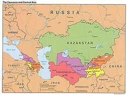 Map indicating locations of Turkmenistan and Uzbekistan