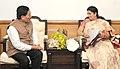 The Chief Minister of Sikkim, Shri Pawan Chamling meeting the Union Minister for Human Resource Development, Smt. Smriti Irani, in New Delhi on November 20, 2015.jpg