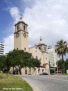 The Corpus Christi cathedral on Upper Broadway in downtown Corpus Christi, TX.