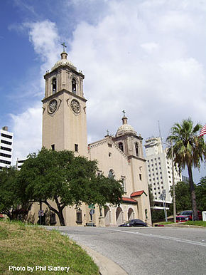 The Corpus Christi cathedral on Upper Broadway in downtown Corpus Christi, TX..jpg