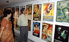"The Director, DFF Shri V B Pyarelal going round the exhibition ""an odyssey of Indian Film Posters through the Decades"" at Kala Academy in Panaji, Goa on November 24, 2006.jpg"