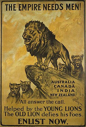 Dominion - The Parliamentary Recruiting Committee produced this First World War poster. Designed by Arthur Wardle, the poster urges men from the Dominions of the British Empire to enlist in the war effort.