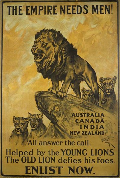 This First World War poster, urges men from the Dominions of the British Empire to enlist in the war effort.
