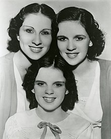 e207043ecb4 The Gumm Sisters, also known as the Garland Sisters, c. 1935: Top row: Mary  Jane and Dorothy Virginia Gumm; bottom: Frances Ethel (Judy Garland) Gumm