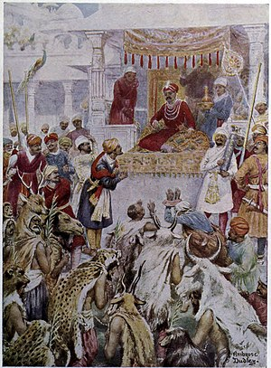 Khan Jahan I - Khan Jahan I of the Mughal Army shows Emperor Akbar his princely captives.