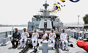 The Union Minister for Defence, Smt. Nirmala Sitharaman at the commissioning ceremony of INS Kiltan into the Indian Navy, at Naval Dockyard, Visakhapatnam.jpg