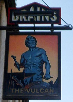 The Vulcan, Cardiff - Image: The Vulcan pub sign, Cardiff geograph 3487704