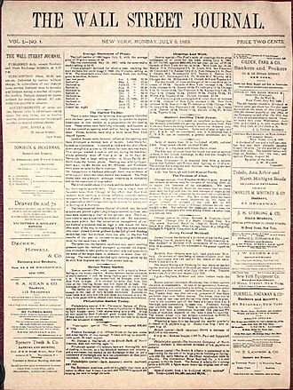 The Wall Street Journal - Front page of the first issue of The Wall Street Journal, July 8, 1889