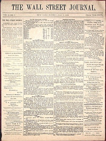 Front page of the first issue of The Wall Stre...
