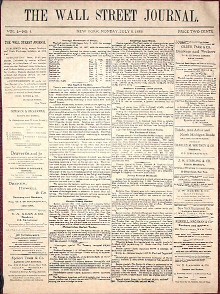 Front page of the first issue of The Wall Street Journal, July 8, 1889 The Wall Street Journal first issue.jpg