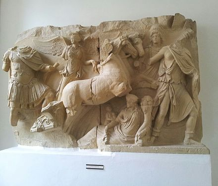 The apotheosis of Lucius Verus, 2nd century relief plates from Ephesus, on display at Humboldt University of Berlin The apotheosis of Lucius Verus.jpg
