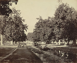 Shalimar Bagh, Srinagar - Entrance channel to Shalimar Bagh from Dal Lake, 1864 view