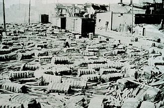 1916 Gulf Coast hurricane - Cotton bales strewn across Southern Railway tracks in Mobile, Alabama