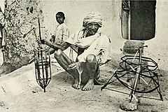 A Mahar Man winding thread from The Tribes and Castes of the Central Provinces of India (1916)