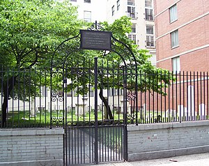 Congregation Shearith Israel - The synagogue's third cemetery (1829–1851) is on West 21st Street near the Avenue of the Americas (Sixth Avenue)