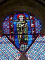 Thiverny (60), église Saint-Leufroy, chevet, vitrail classé de saint Leufroy.JPG