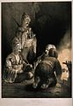 Three Turkish soldiers gathered round a fire in the dark smo Wellcome V0019264.jpg