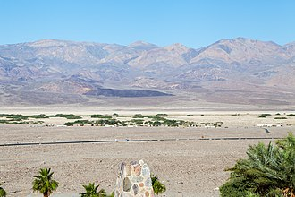 Indian Village, California - Death Valley Indian Community, looking west toward the village from a hill one mile away across highway 190