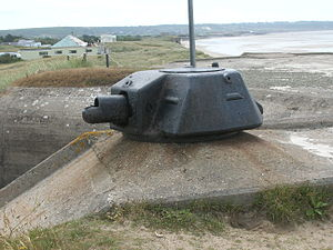 Defensive fighting position - Tobruk protecting the entrance to the bunker that now houses the Channel Islands Military Museum. This turret from a Renault R35 was originally employed on a Tobruk at Saint Aubin's Fort, Jersey.
