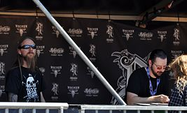 "Tomas ""Samoth"" Haugen and Vegard ""Ihsahn"" Tveitan at the Meet & Greet, Wacken Open Air 2013.jpg"