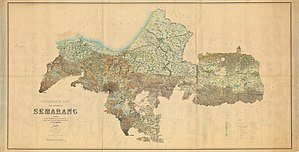 Demak Regency - Semarang Residency in 1889. Demak is the area with the coastline facing northwest towards the Java Sea.