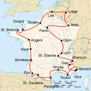 Route of the 1950 Tour de FranceFollowed counterclockwise, starting and finishing in Paris