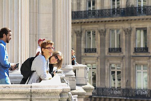 Tourists on the balcony of the Opéra Garnier, Paris 6 August 2016