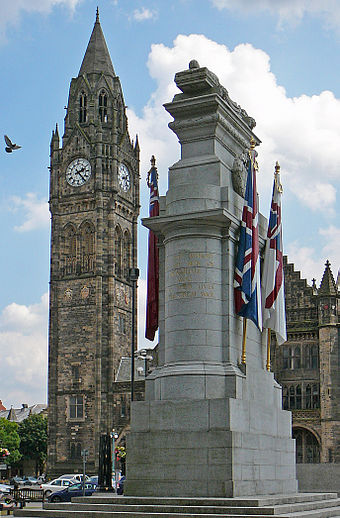 The cenotaph, with the tower of Rochdale Town Hall in the background Town Hall and Cenotaph, Rochdale.jpg