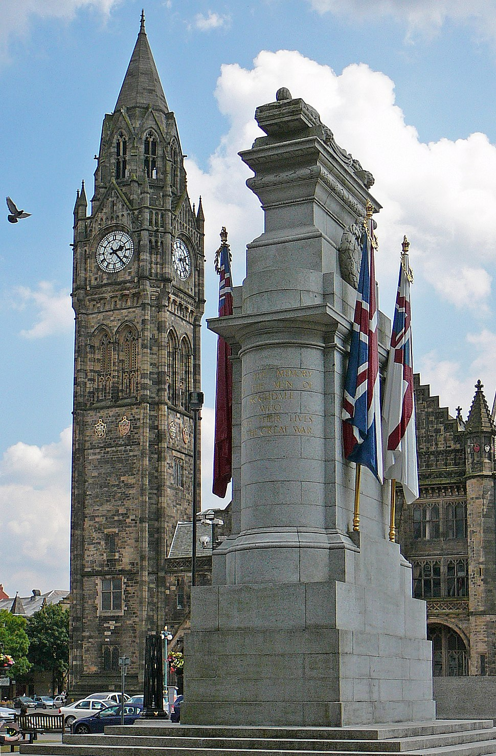 Town Hall and Cenotaph, Rochdale