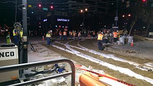 Central Subway - Image: Track extension of Central Subway Project at 4th & King