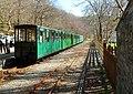 Train at Cei Llydan railway station (geograph 4027775).jpg