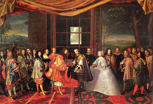 The meeting of Philip IV of Spain and Louis XIV of France on 7 July 1660 at Pheasant Island Traite-Pyrenees.jpg