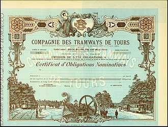 Tours tramway - Bond of the Compagnie des Tramways de Tours from the 27. July 1907