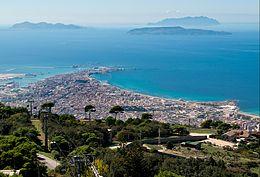 Panorama di Trapani dalle falde del Monte Erice