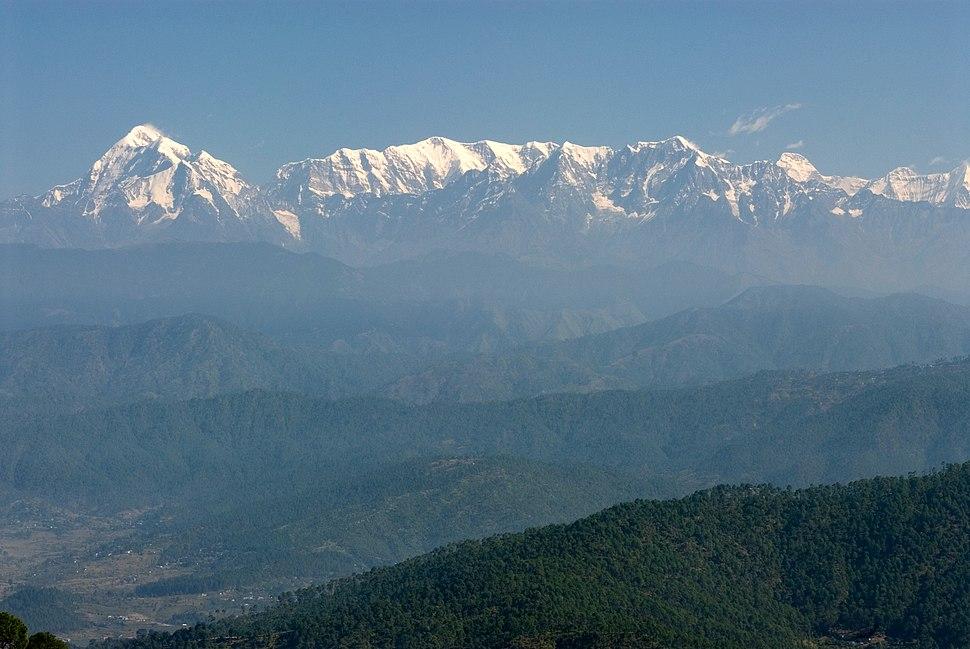 Trisul, Nanda Devi and Himalayan range from Kausani, Uttarakhand