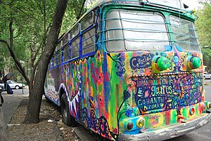 Trolleybuses of Roma–Condesa - One of the buses painted by artist Fumiko Nakashima entitled Doble Vida.